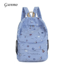 2017 GsenmoPrint Canvas Shoulder School Backpack Anchor Rucksack Backpack Korean Style Women Fashion Backpack Printing Backpacks