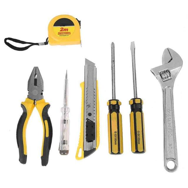 Complete Practical 8pcs Household Fix Tool Set KitS Spanner Wrench Screwdriver Cutting Pliers Tape with Plastic Box