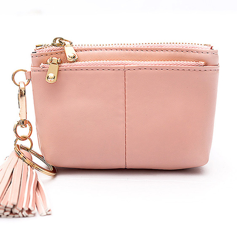 Women Wallet Female Leather Purse Tassel Double Zip Coin Card Holder Short Clutch High Quality Change Purse Fashion Girl Wallets