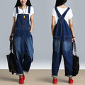 Retro Ripped Baggy Jeans Rompers Womens Jumpsuit Big Size Denim Pants Hip Hop Loose Overalls