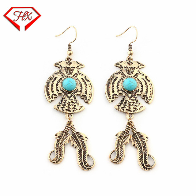 HX Trend New Personality Eagle Green Stone Earrings Retro Feather Stud  Earrings Accessories Earrings Hot