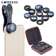 10 in 1 Phone Camera Lens Kit Fisheye Wide Angle macro Lens CPL Filter Kaleidoscope and 2X Telescope Lens for smartphone