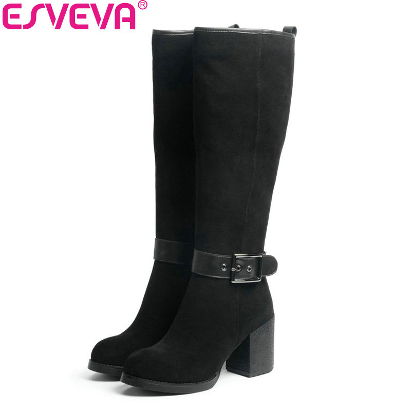 ESVEVA 2018 Women Boots Winter Warm Knee-high Boots Cow Leather + Scrub Western Style Ladies Shoes Square High Heels Size 34-39 esveva 2018 winter women boots over knee high boots real leather scrub boots square heels short plush ladies boots size 34 39