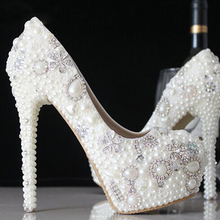 Fashion Crystal Pride Pedding High Heel Pumps New Stunning Rhinestone Pearl Wedding Shoes Dress Pearl Pregnant Pumps Shoes