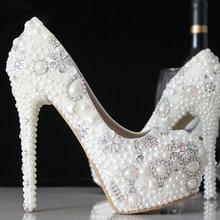 Fashion New Stunning Rhinestone Pearl Wedding Shoes Crystal Pride Pedding High Heel Pumps Dress Pearl Pregnant Pumps Shoes