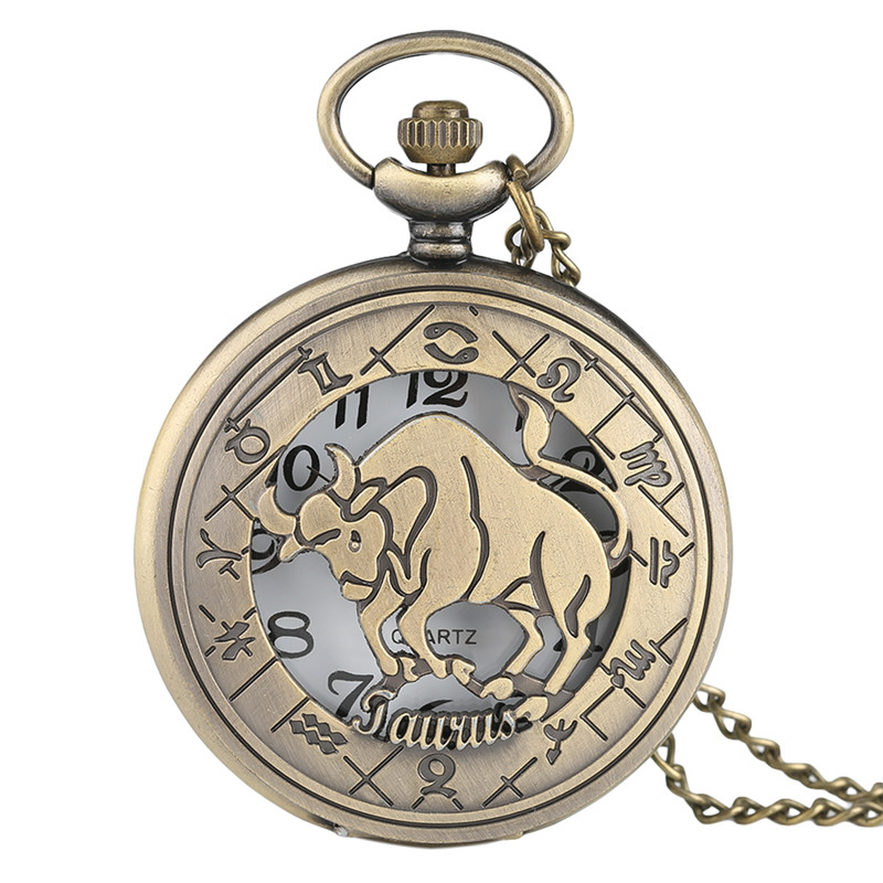 Bronze Half Hunter Taurus Quartz Pocket Watch Necklace Copper 12 Constellations Modern Men Women Fob Watches Birthday Gift 2020