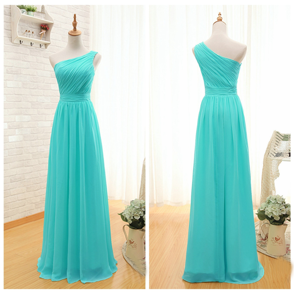 robe demoiselle d 39 honneur 2017 new chiffon one shoulder a line turquoise bridesmaid dresses long. Black Bedroom Furniture Sets. Home Design Ideas