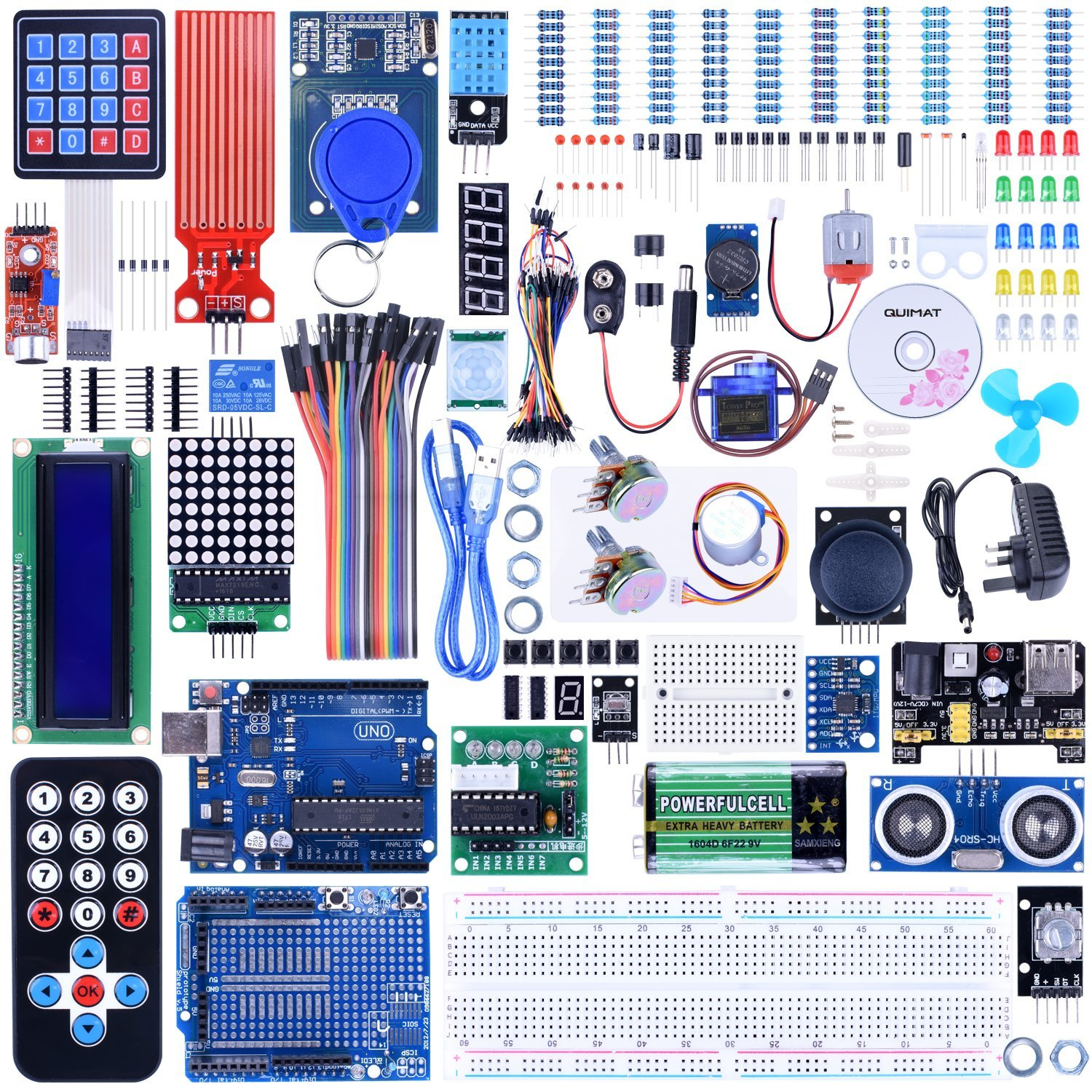 Quimat UNO R3 Project Complete Ultimate Starter Kit for Arduino with Tutorial,UNO R3 Development Board, LCD1602, Servo QK27 frree shipping top selling high qualiy uno r3 starter kit 1602 lcd dot matrix breadboard led resistor hot selling