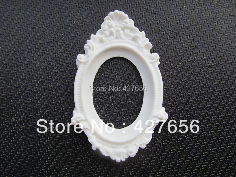 5pcs Oval Flatback White Resin Picture/Cabochon/Cameo Frame Charm ...