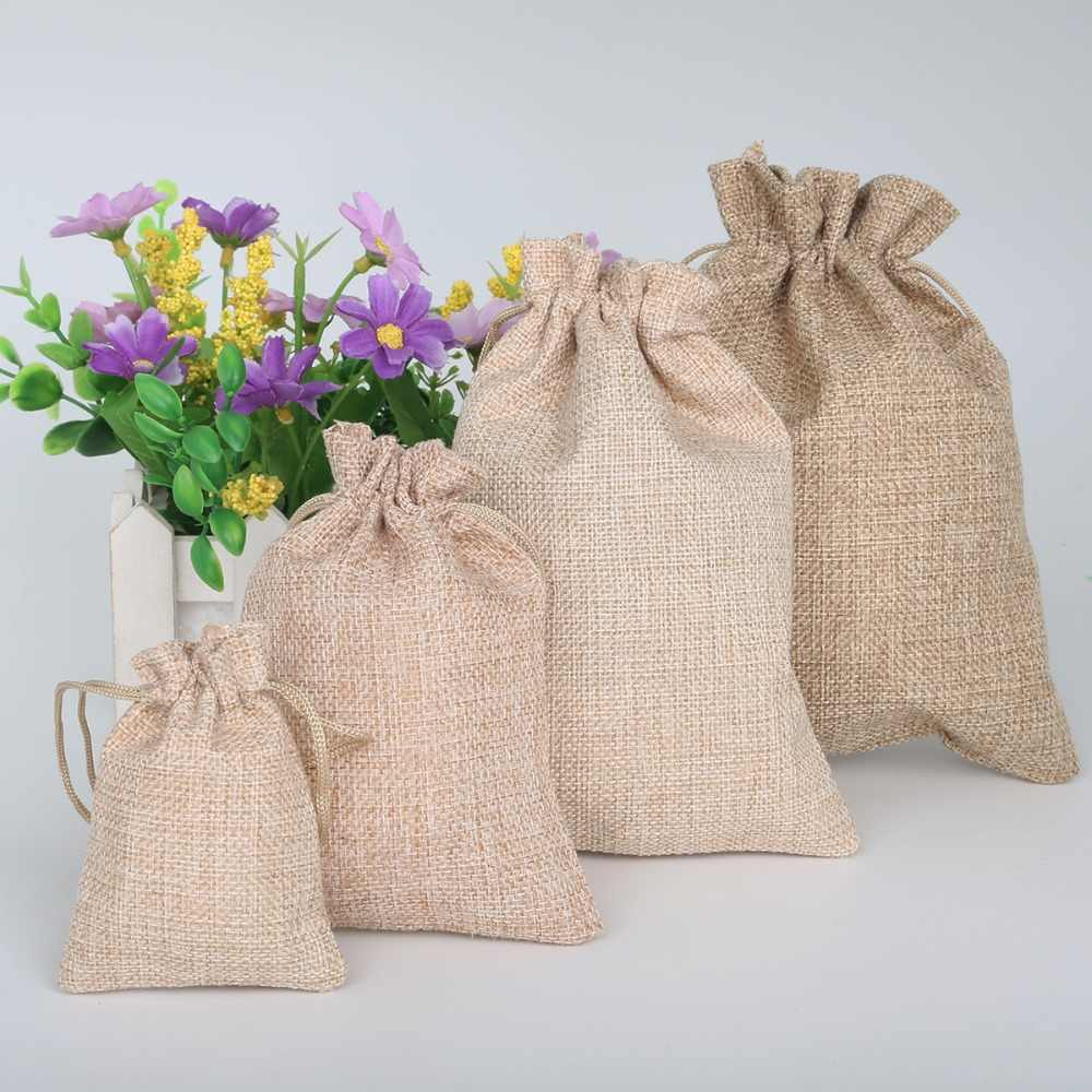 5pcs New Brand Vintage Natural Burlap Hessia Gift Candy Bags Wedding Party Favor Pouch Jute Gift Packaging Bags