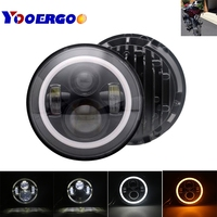 Motorcycle Accessories 7 Angel Eye Headlamp Harley Softail Touring Road King Street Glide Daymaker 7 Inch Round LED Headlight