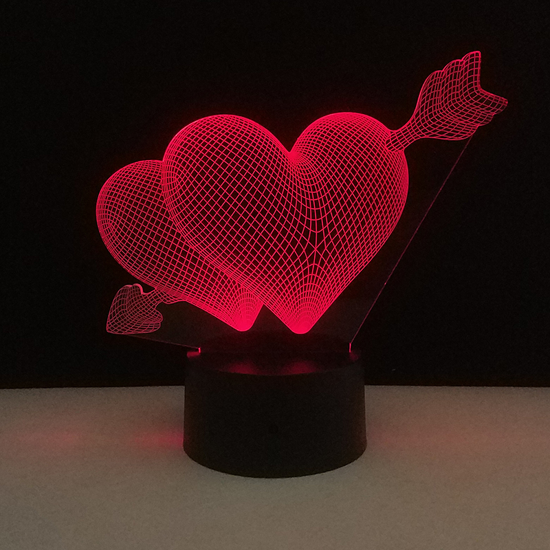 Valentines Day Gift LED Touch 7 Color Light 3D Decorative Table Lamp USB Night Lights Arrow Through Hearts Nightlight Gifts Lamp