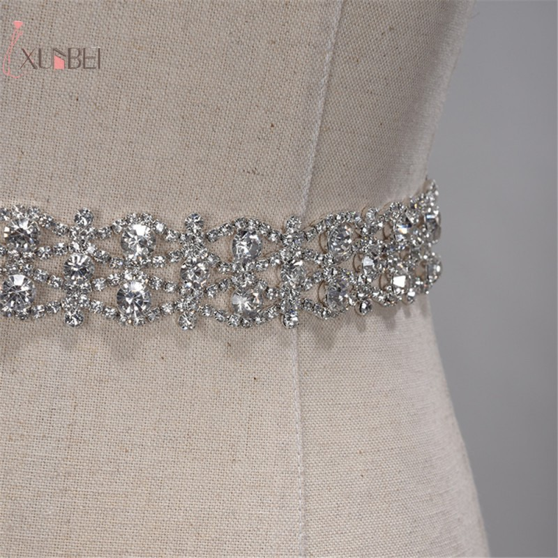 Rhinestone Belt Sash Ribbon Wedding-Accessories Satin Crystal Gold Silver Handmade New title=
