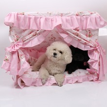 Cute Lace Dog House Comfortable Overall Removable Cotton Bed Easy to Clean