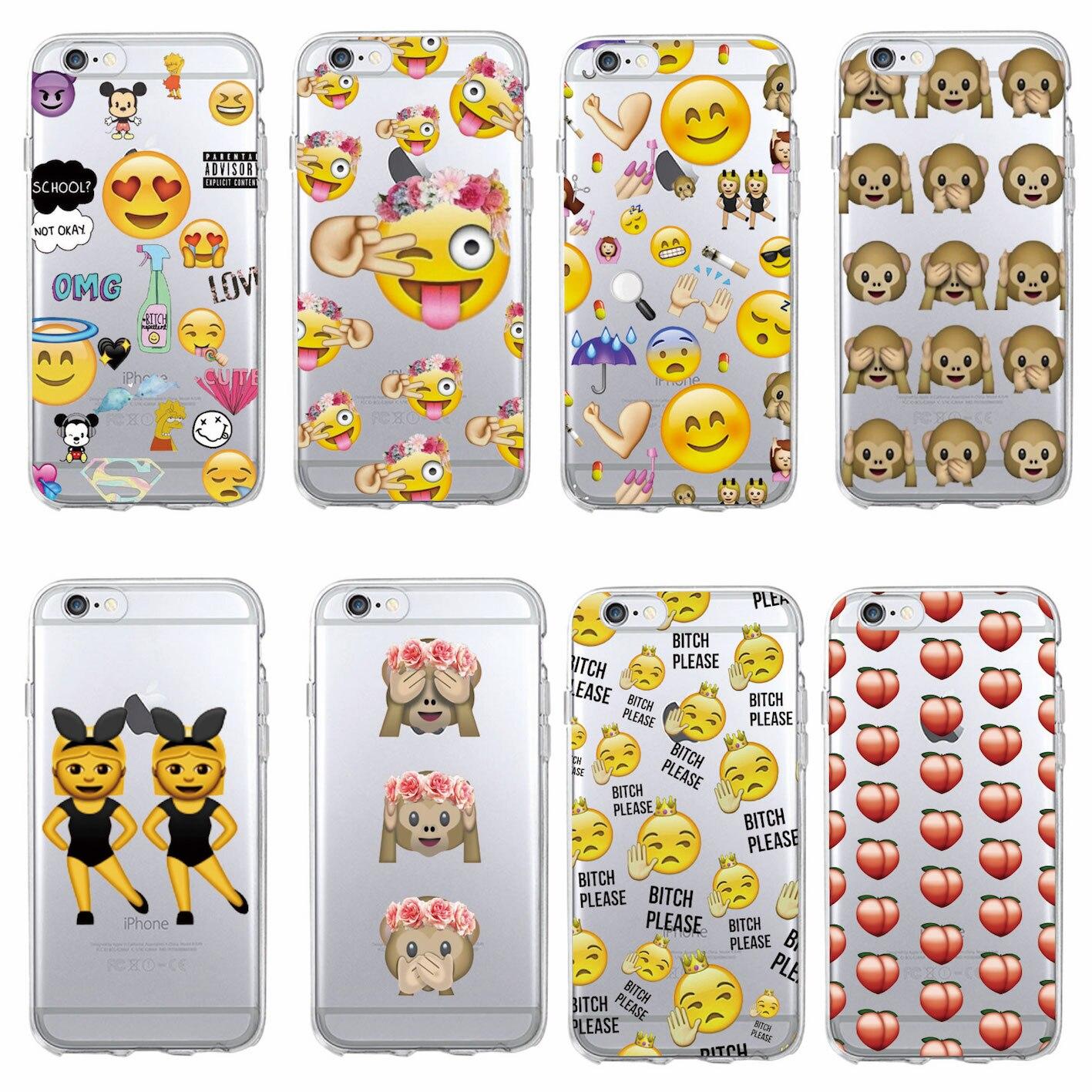 Divertido emoji smiley mono de dibujos animados corazón clara suave del teléfono