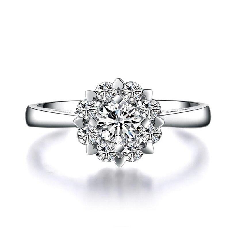 ANI 18 K Ouro Branco (AU750) Anel de casamento 0.18 CT Certified I/SI Round Prong Halo do Anel de Noivado para As Mulheres de Diamante da Forma Do Coração
