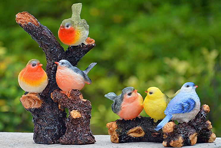 Save Big Bird >> 4 pcs a set Resin birds Home Decoration crafts Ornaments Garden Decor figurine resin home ...