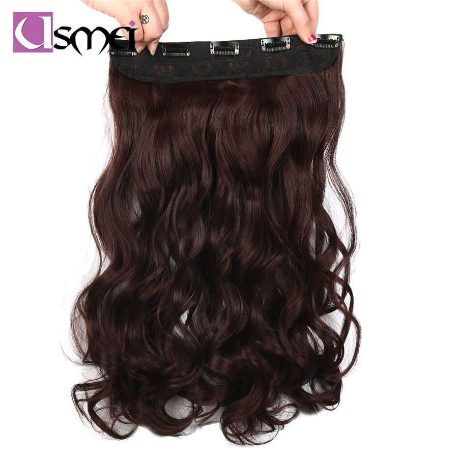 Usmei Clip In Synthetic Hair Extensions Long Wavy Hair One Piece 5 Clips Black Color Women Hairpieces Synthetic Extensions Hair Extensions & Wigs