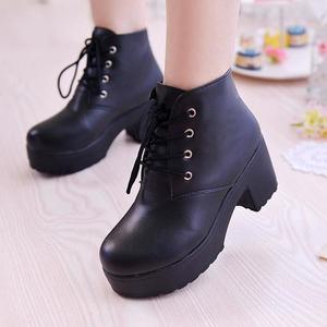 Image 4 - Женские ботинки с круглым носком YEELOCA, весенние ботинки на высоком квадратном каблуке, со шнуровкой, размера плюс, 35 45, новинка 2019