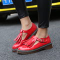 Spring Women's Fashion Flats Shoes,Red Platform Creepers Retro Tassel, Patent Leather Fabric, Zapatos Mujer Solid Shoes SDL00503
