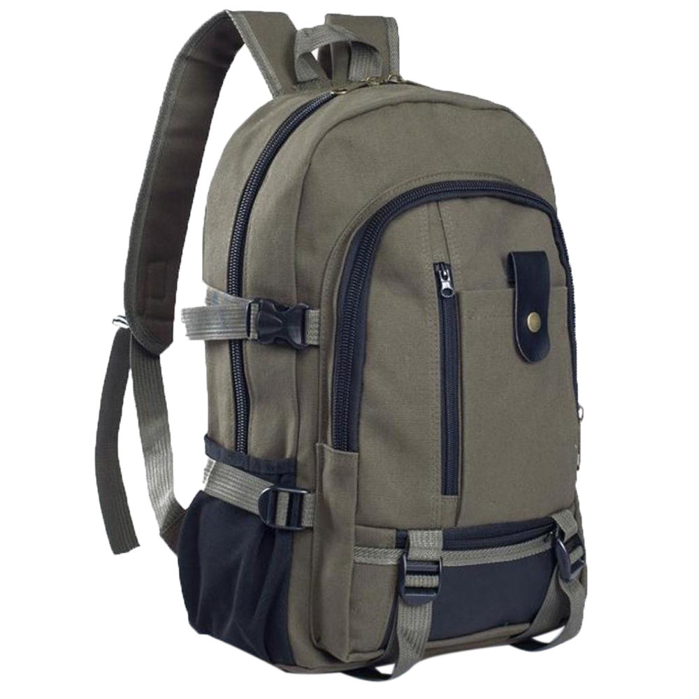 Backpack Unisex Simple Double-Shoulder Canvas Backpack Schoolbag Travel Multi-Function Bags Mochila