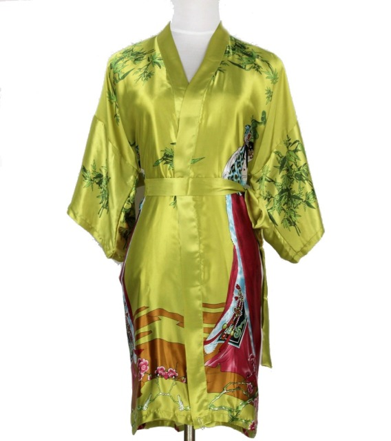 Hot Sale Green Chinese Women Long Silk Robe Sexy Kimono Yukata Gown Vintage Print Sleepwear Plus Size S M L XL XXL XXXL NR095