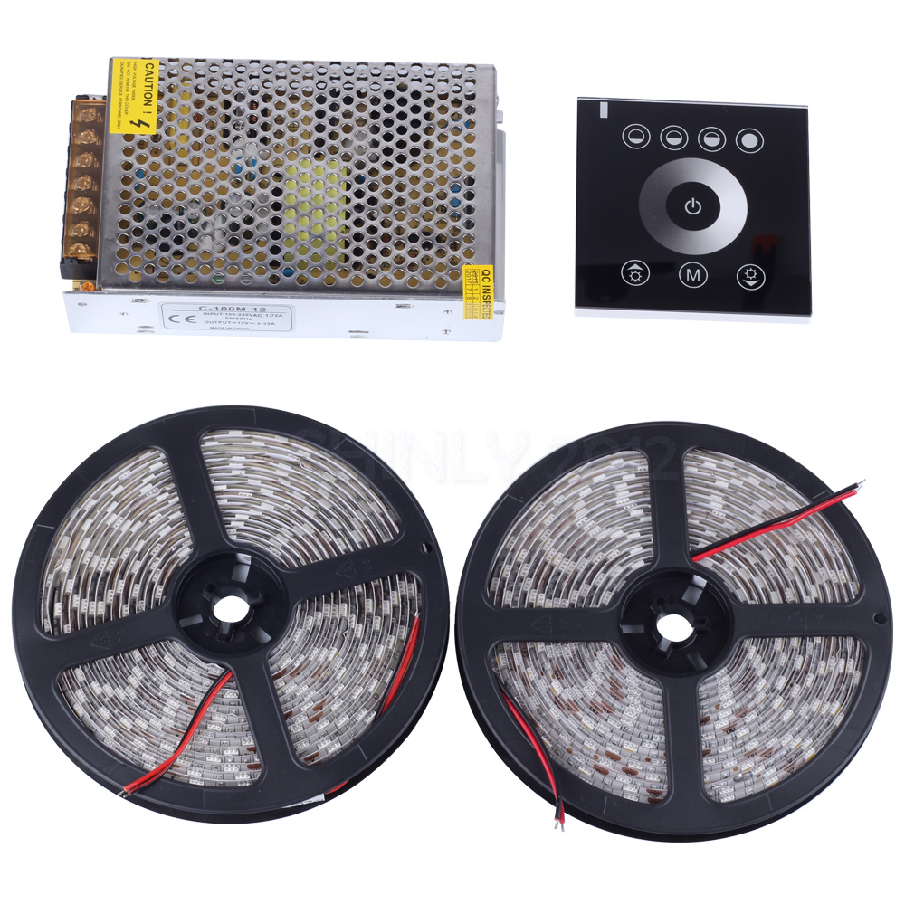 ФОТО Cold White / Warm white 5M /10M 12V 5050 Waterproof led strip lights 5M 300leds+Touch controller+Power