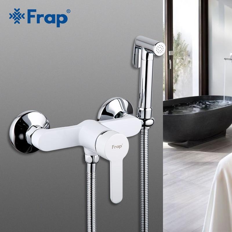 FARP Bidets nouveau blanc cuisson vernis moderne bidet robinet mitigeur mural de luxe salle de bain douche robinet ensemble