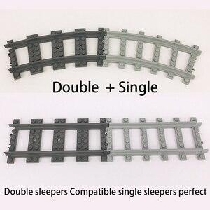Image 5 - Ausini Flexible City Compatible pour les Trains Lego Rail Rail Rail modèle ensembles fourchus droite courbe blocs de construction brique jouet