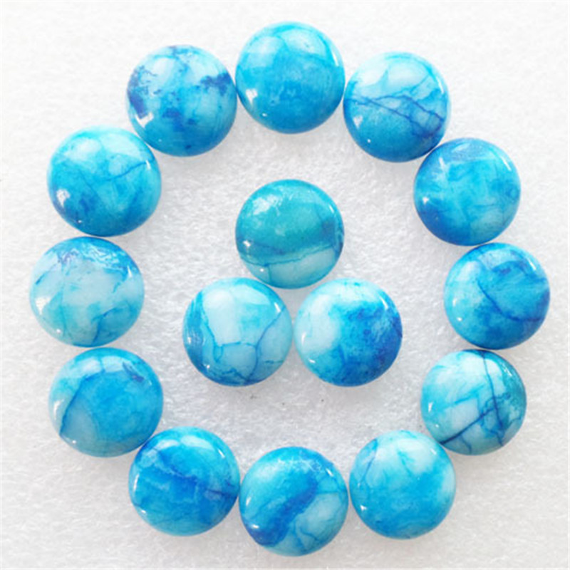 (15 Pieces/lot) Wholesale Blue Natural Crazy Lace Agates Round CAB Cabochon 16x5mm Free Shipping Fashion Jewelry J405