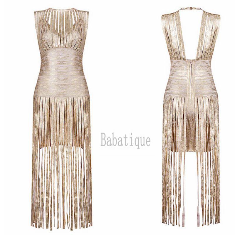 2019 nouveau Sexy soirée gland or imprimé robe Occasion spéciale robe longue bal robes de soirée célébrité Club Bandage robe - 2