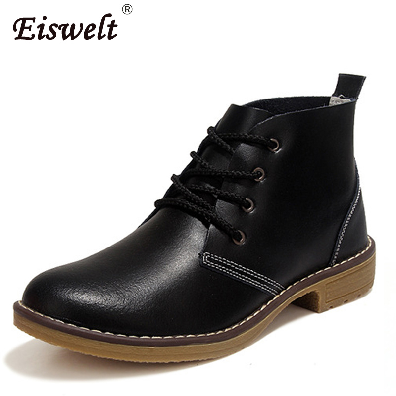 EISWELT Woman Spring Autumn Genuine Leather Ankle Boots Female Solid Lace Up Low Heels Platform Round Toe Shoes#ZQS160 odetina fashion genuine leather ankle boots flat woman round toe platform lace up boots autumn winter casual shoes big size 43
