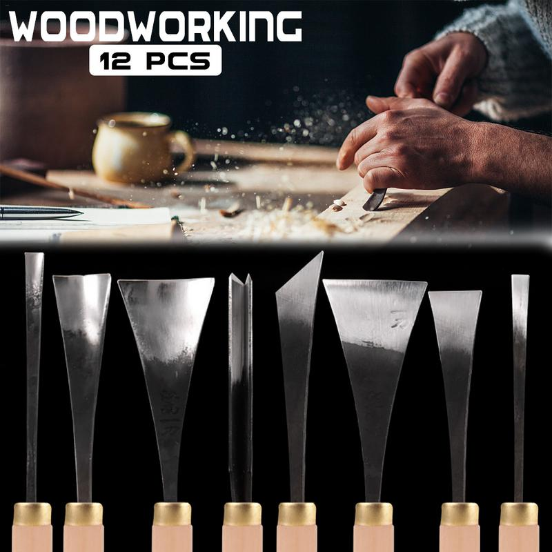 12 pièces ensemble de couteaux à découper en bois à la main ciseaux à découper en bois pour le travail du bois argile cire outils de bricolage artisanat en bois ciseau ensemble d'outils de sculpture