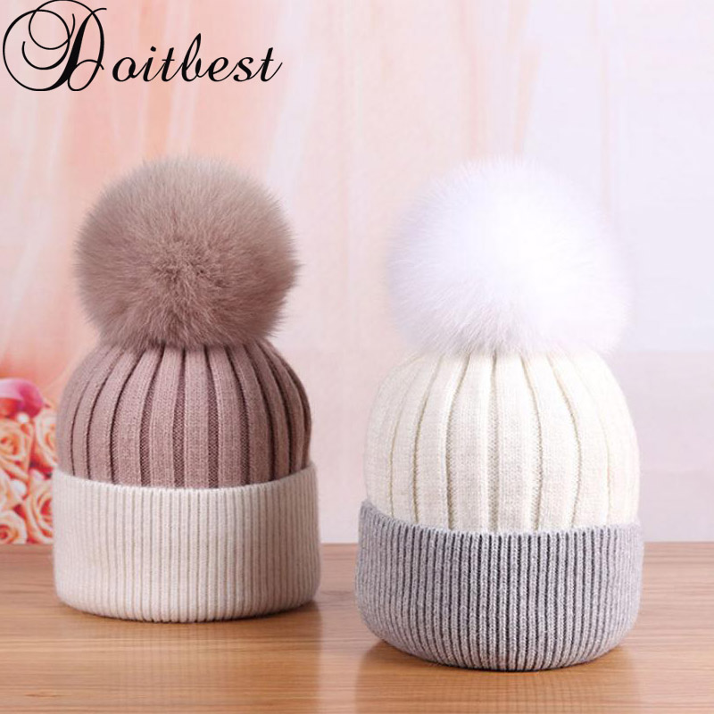 8ea6c195055 Doitbest Korea Real Fox fur winter hat for women girls pompom hats knitted  Beanie womens racoon