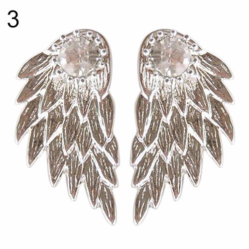 Black Silver & Golden Rhinestone Angel Wing Earrings Studs