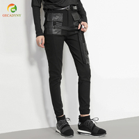 Black Steampunk Pu Leather Pockets Stitching Harem Trousers Women High Waist Gothic Sreet Personality Pencil Pants Leggings