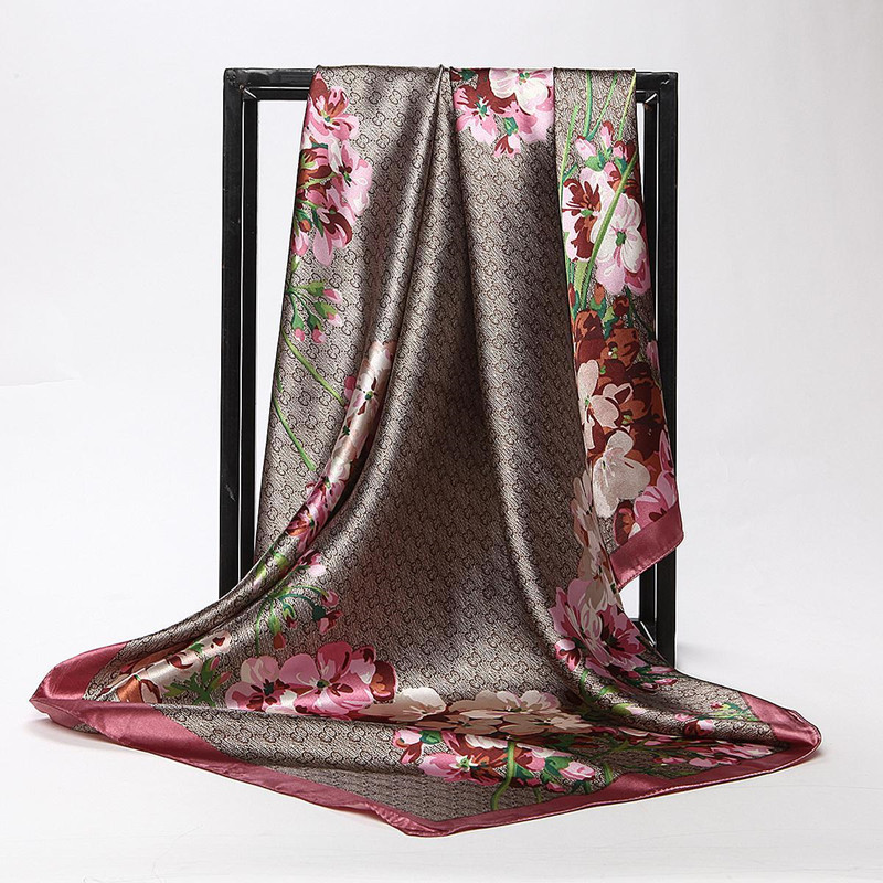 Silk Scarf Hijab Foulard Satin Square-Head Flower-Print Fashion Women Lady 90--90cm Luxury Brand