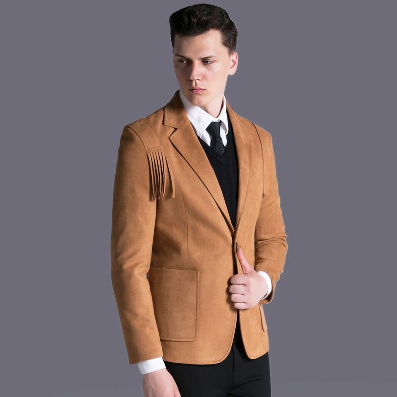 Men Single Button Tassel Suede Suit Jacket Autumn Winter Slim Fit Korean Style Casual Work Faux Leather Solid Blazer Plus Size Buy One Give One Blazers