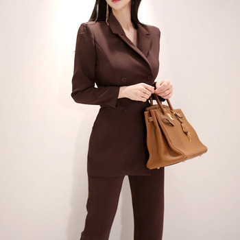 Women Irregular jumpsuit Double-breasted Blazer Jacket and Slim Pencil Pant 2 Pieces Set Female Wear to office Business jumpsuit