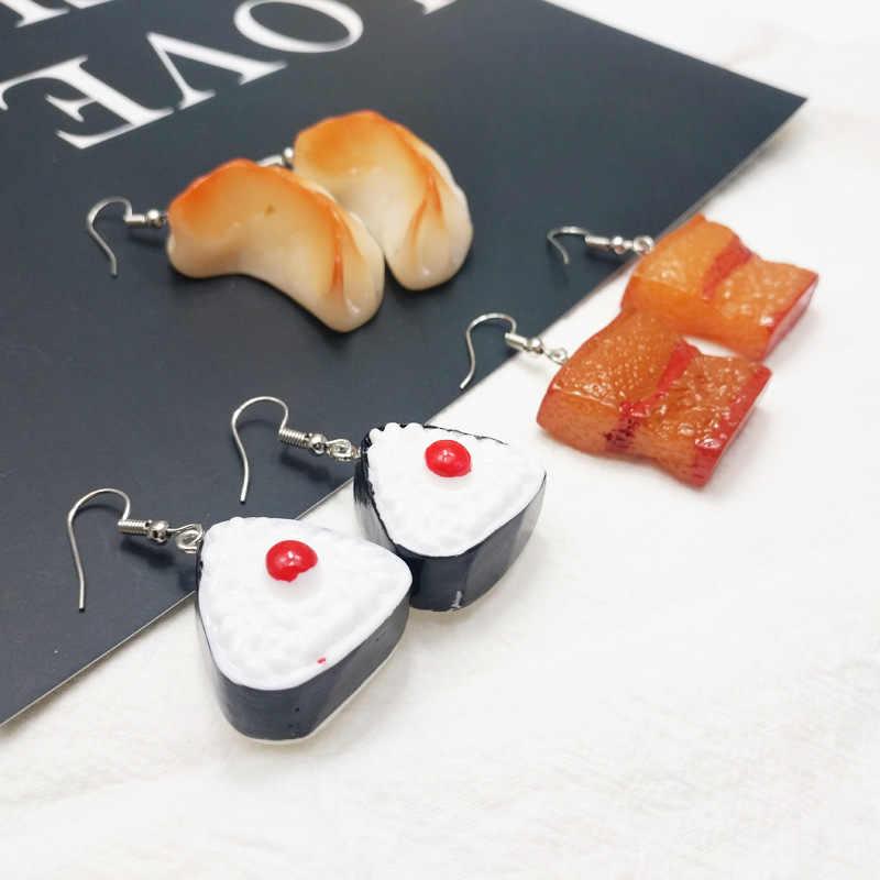Unique Mini Braised Pork Meat Sushi Dumplings Dangle Earrings