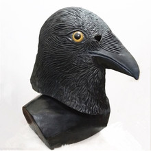 Adult size Fancy Dress Overhead Animal Cosplay Costume Bird mask Latex Crow for Carnival