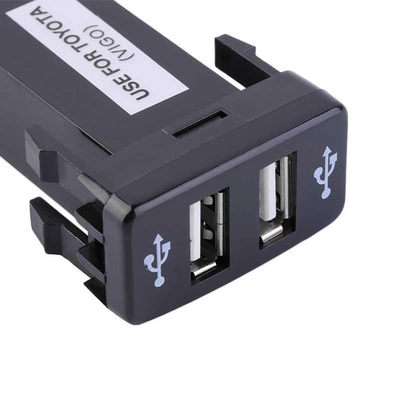 Cargador de coche rápido 12 V-24 V PA-ABS puertos USB duales adaptador para TOYOTA VIGO accesorios de estilo de coche teléfonos inteligentes tabletas