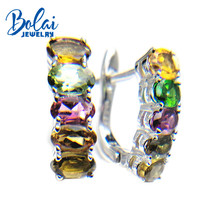 Bolai natural tourmaline clasp stud earrings 925 sterling silver fancy color gemstone stone jewelry 2019 women's ladies earring bolai 100% natural tourmaline ring 925 sterling silver fancy color five stone gemstone fine jewelry for women wedding rings 2019