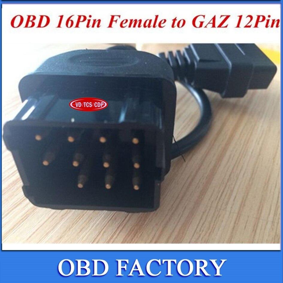 Prix pour Libérez le bateau GAZ 12Pin Mâle à OBD OBD2 OBDII DLC câble 16Pin Femelle Voiture Outil De Diagnostic Adaptateur Convertisseur Câbles