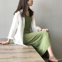 цены 2019 Women Solid Tank Dress Knitting V Neck Sleeveless Midi Dresses Women Casual Rib Slim Dresses
