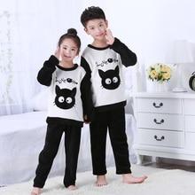 Купить с кэшбэком 2018 new Winter Children Fleece Pajamas Warm Flannel Sleepwear Girls Loungewear Coral Fleece Kids pijamas Homewear Boys Pyjama