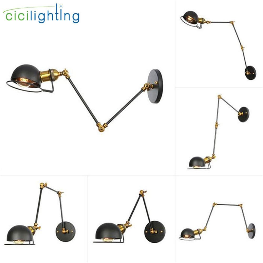 Nástěnné nástěnné starožitné mosazné nástěnné svítidlo průmyslové retro houpací rameno příslušenství moderní e27 art deco nástěnné svítidlo wandlamp industrieel