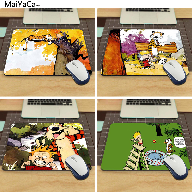 MaiYaCa Funny Cartoon Anime Calvin And Hobbes Customized Rectangle Silon Aming Mousepad Size 220mmX180mmx2mm
