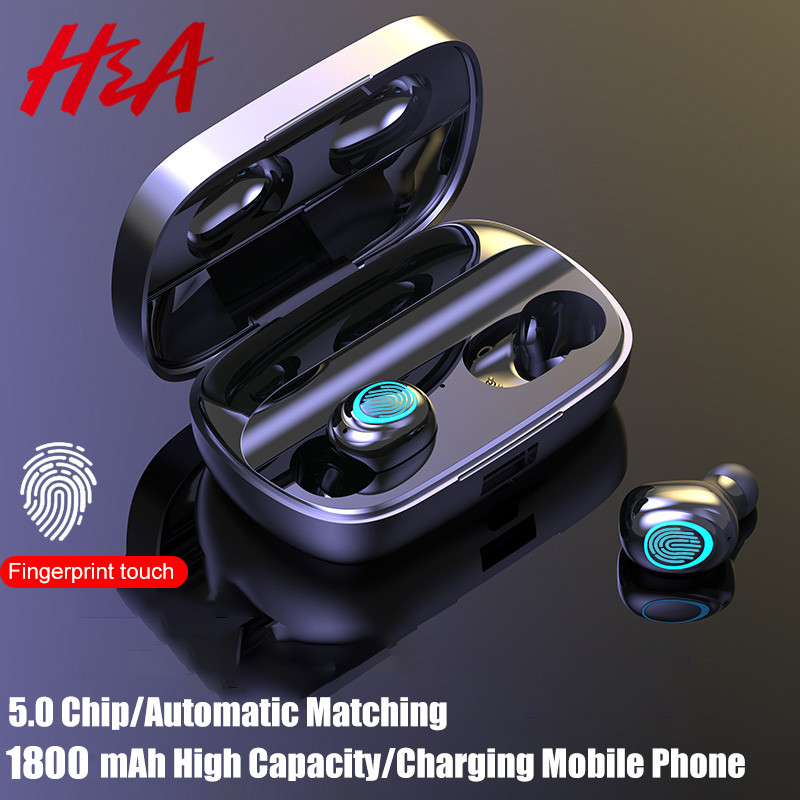 H&A Wireless Headphones 5.0 Stereo Earbuds Bluetooth Earphone Headphones TWS Wireless Bluetooth Headset With 1800 mAh Power Bank