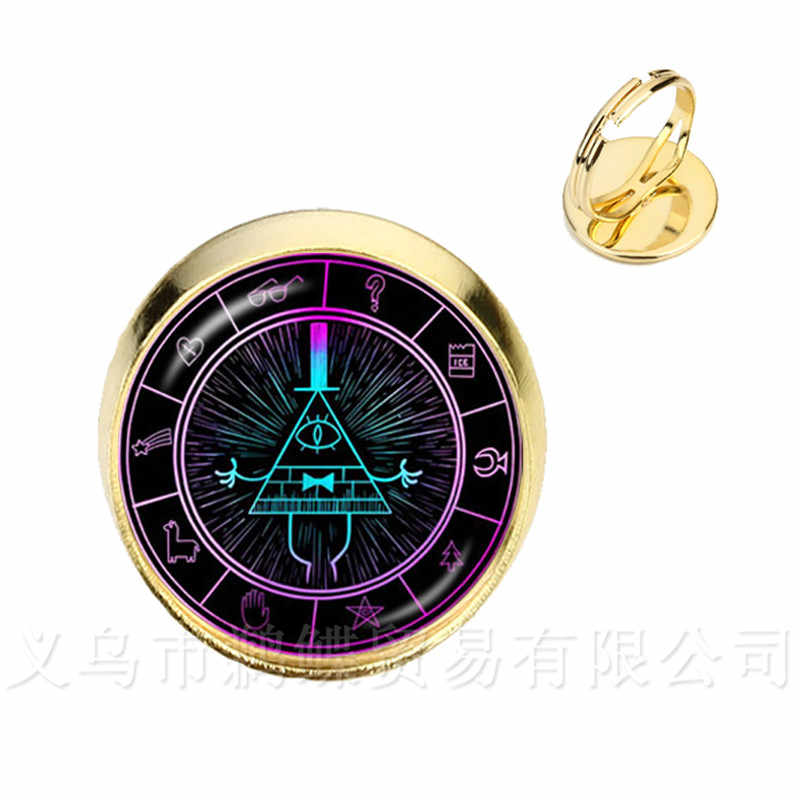 2 Colors Glass Dome Rings Steampunk Drama Gravity Falls Mysteries BILL CIPHER WHEEL Time Gems Rings Gift For Friends